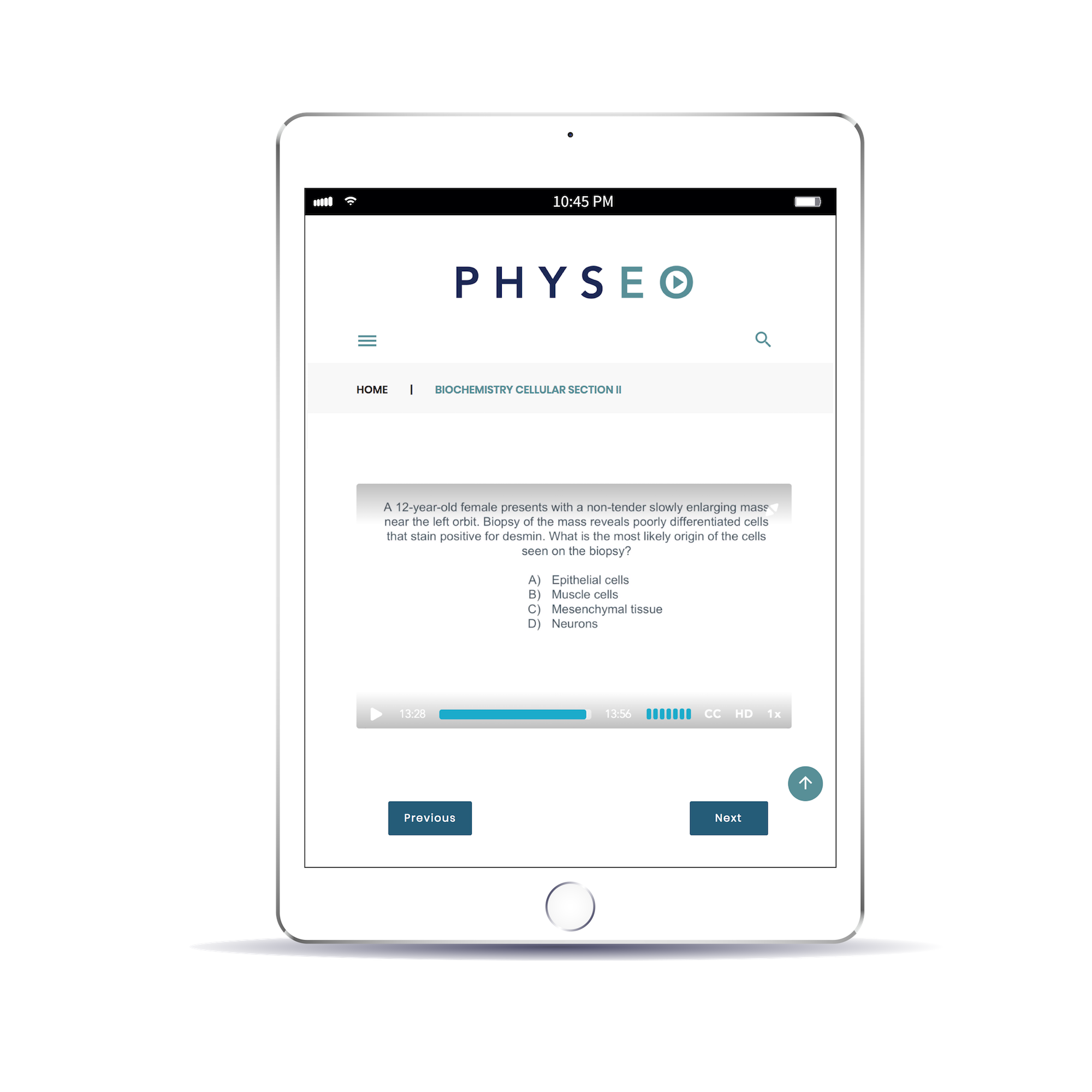 Physeo webpage on iPad with questions